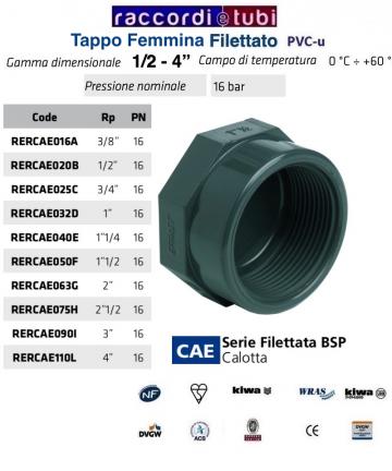 """TAPPO PVC FEMMINA DIAMETRO 1"""""""