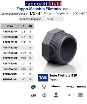TAPPO PVC MASCHIO DIAMETRO 3/4