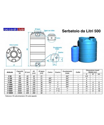 SERBATOIO VERTIC.LT.500 DA...